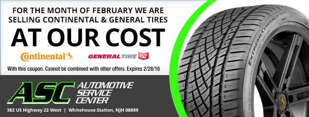 For the month of February we are selling Continental and General tires at our cost.