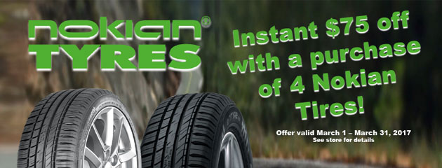 Instant $75 Off Select Nokian Tires