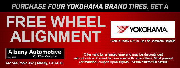 Free Wheel Alignment with Four Yokohama Tires