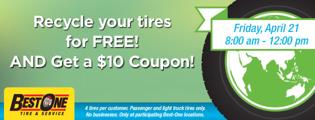 Recycle Your Tires For Free! And Get A $10 Coupon