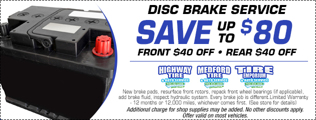 Disc Brake Service Save Up To $80