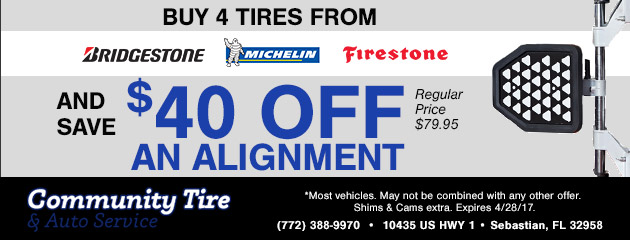 Buy 4 tires and save $40 off an alignment