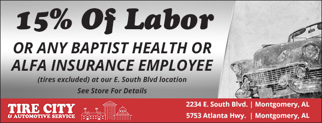 15% off Labor for any Baptist Health or Alfa Insurance employee