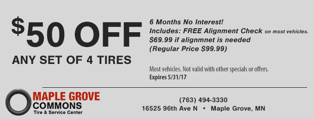 $50 Off Any Set Of 4 Tires