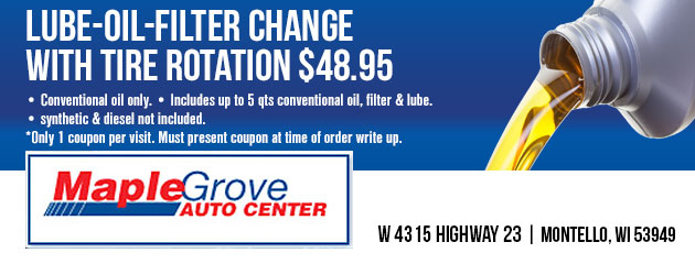 Lube/oil/filter change w/tire rotation $48.95