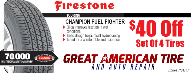 $40 Off 4 Firestone Champion Fuel Fighter Tires