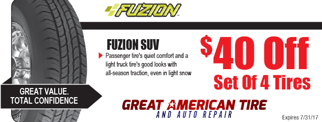 $40 Off 4 Fuzion SUV Tires