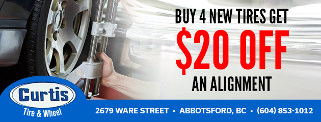 Buy 4 new tires get $20 off an alignment
