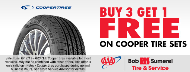 Buy 3 Get 1 Free on Cooper Tire Sets