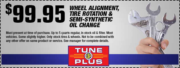 $99.95 Wheel Alignment, Tire Rotation & Oil Change