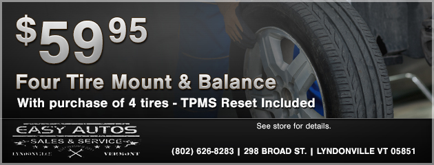 4 Tires Mount and Balance only $59.95 with tire purchase