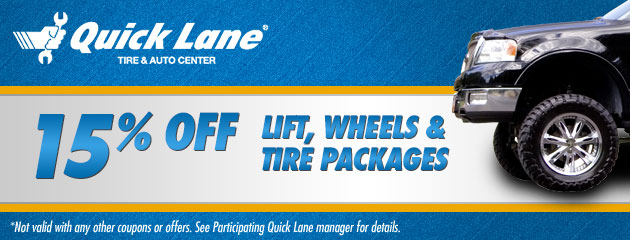 15% Off  Lift, Wheels & Tire Packages
