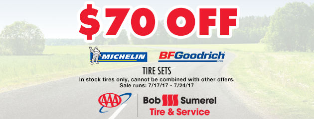 $70 off Michelin and BFGoodrich Tire Sets
