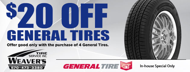 $20.00 Off General Tires