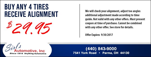 Buy Any 4 Tires and Receive an Alignment for $29.95