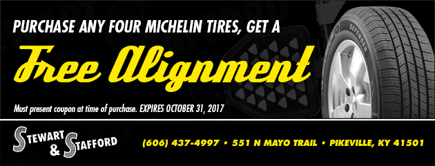 Purchase any four michelin tires, get a free alignment