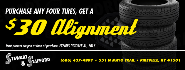 Purchase any four tires, get an alignment for $30