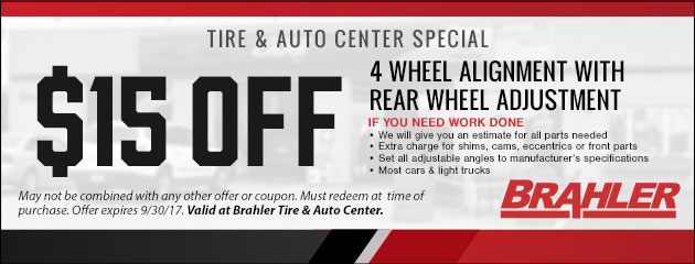 $15 Off 4 Wheel Alignment