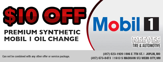 $10 off premium synthetic Mobil 1 oil change