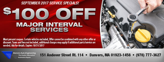 $100 Off Major Interval Services