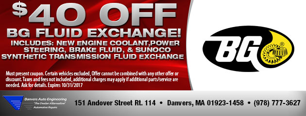 $40 Off BG Fluid Exchange