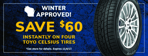 Save $60 Instantly on Four Toyo Celsius Tires