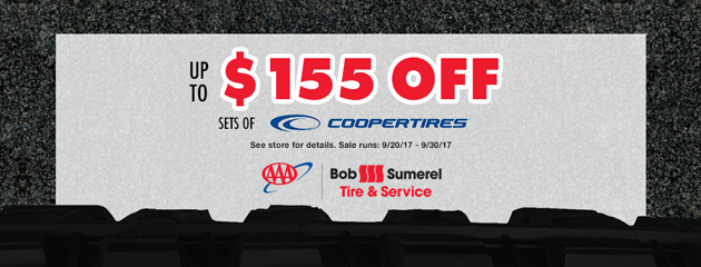 Up to $155 off sets of Cooper Tires