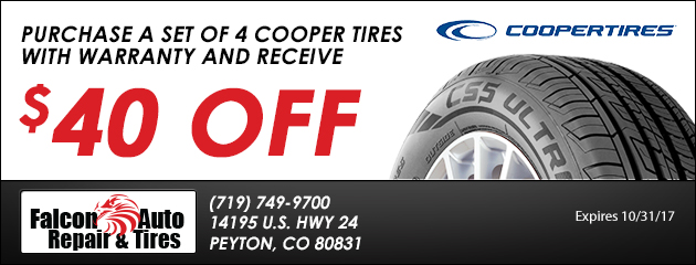 $40 Off Set of Four New Cooper Tires