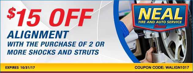 $15.00 off alignment with the purchase of 2 or more shocks and struts