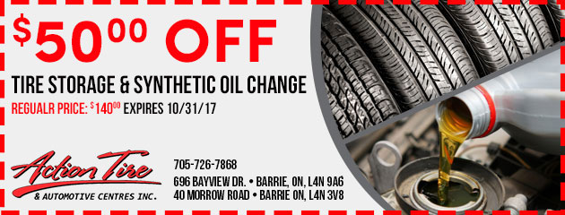 Tire Storage and Synthetic Oil Change Special