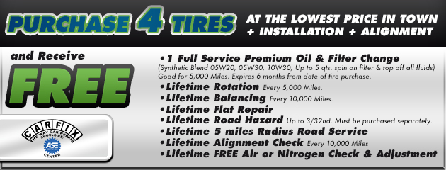 Service Coupon with purchase of 4 tires