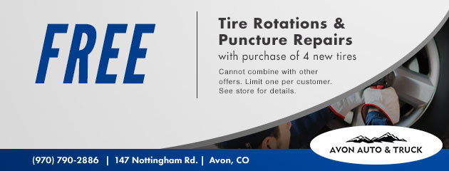 Free tire rotations and free puncture repairs with purchase of 4 new tires