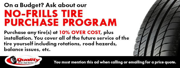 NO-FRILLS tire purchase program