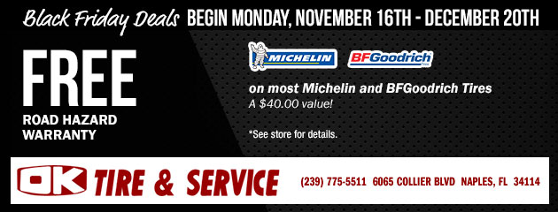 Black Friday Deals -Free Road Hazard on most Michelin and BFGoodrich Tires