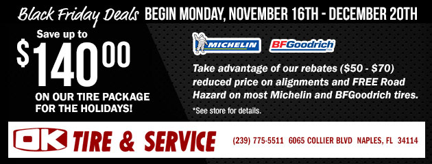 Black Friday Deals - Save up to $140.00 on our Tire Package for the holidays
