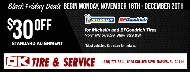 Black Friday Deals - $30.00 off Standard Alignment for Michelin and BFGoodrich Tires