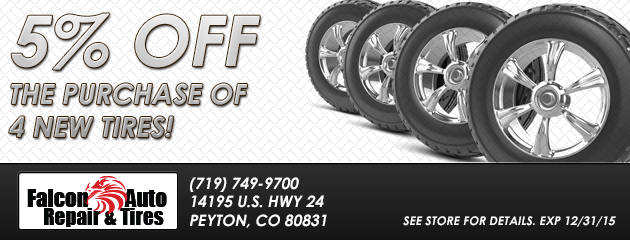 5% Off the Purchase of 4 New Tires!