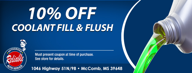 10% Off Coolant Fill & Flush