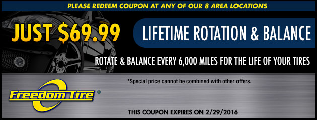 $69.99 Lifetime Tire Rotation and Balance