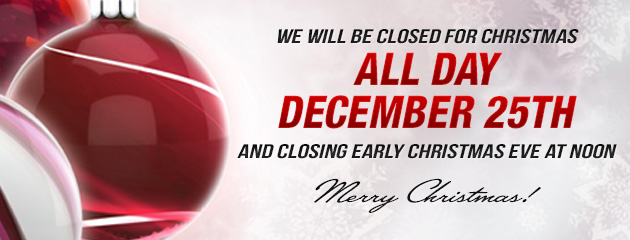 Christmas Hours - Closing at Noon Christmas Eve