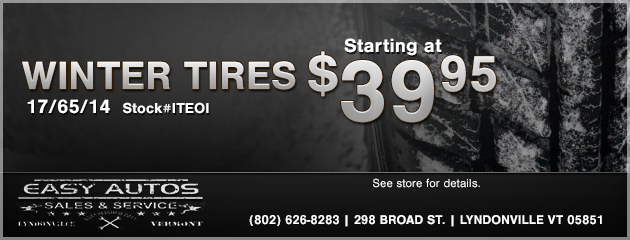 Winter Tires Starting at $39.95