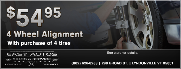 $54.95 4 Wheel Alignment with tire purchase