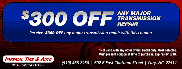 $300 off Any Major Transmission Repair