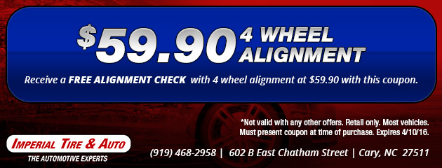 Free Alignment Check with purchase of 4-Wheel Alignment