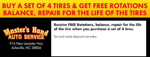 Buy a set of four tires and get free rotations, balance, repair for the life of the tires
