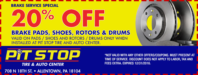 20% off brake pads / shoes and rotors / drums