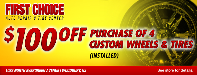 $100 Off purchase of 4 Custom Wheels and Tires