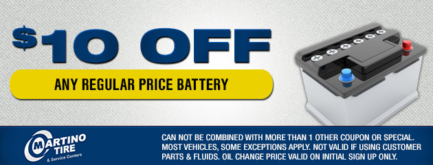 $10 Off Any Regular Price Battery Coupon