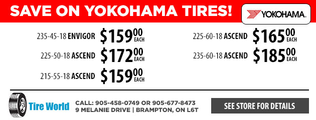 Save on Yokohama Tires! 18""