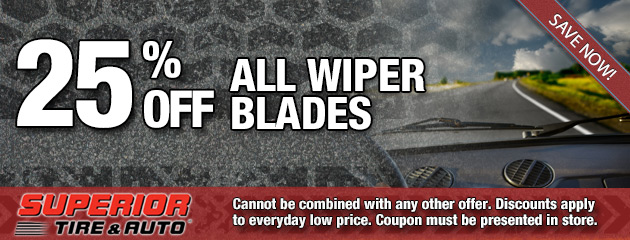 25% Off All Wiper Blades